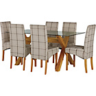 more details on Hartley Glass Dining Table and 6 Checked Skirted Chairs.