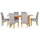 more details on Heart of House Hastings Ext Table & 6 Grey Skirted Chairs.