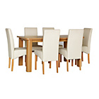 more details on Stonebury Oak Stain Table and 6 Cream Skirted Chairs.