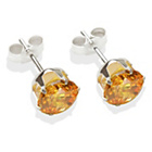 more details on Sterling Silver Champagne Cubic Ziconia Stud Earrings - 7MM
