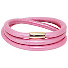 more details on Link Up 3 Row Pink Leather Bracelet - Rose Gold Colour Clasp