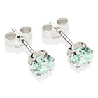 more details on Sterling Silver Aqua Cubic Ziconia Stud Earrings - 5MM