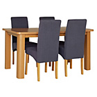 more details on Stonebury Oak Stain Table and 4 Charcoal Skirted Chairs.