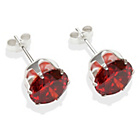 more details on Sterling Silver Red Cubic Ziconia Stud Earrings- 8mm.