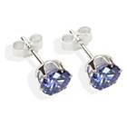 more details on Sterling Silver Tanzanite Cubic Ziconia Stud Earrings-6MM