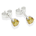 more details on Sterling Silver Citrine Cubic Ziconia Stud Earrings - 4MM