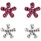 more details on Link Up Sterling Silver Pink and White Flower Studs - 2.