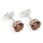 more details on Sterling Silver Brown Cubic Ziconia Stud Earrings-6MM