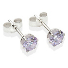 more details on Sterling Silver Lilac Cubic Ziconia Stud Earrings - 5MM