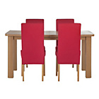 more details on Stonebury Oak Stain Table and 4 Red Skirted Chairs.