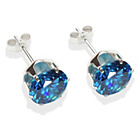 more details on Sterling Silver Dark Blue Cubic Ziconia Stud Earrings - 8MM
