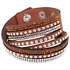 more details on Link Up Brown Warped Leather Glitter Bracelet.