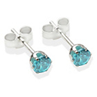 more details on Sterling Silver Dark Blue Cubic Ziconia Stud Earrings - 4MM