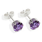 more details on Sterling Silver Amethyst Cubic Ziconia Stud Earrings - 6MM