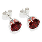 more details on Sterling Silver Garnet Cubic Ziconia Stud Earrings - 7MM