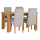 more details on Heart of House Hastings Ext Table & 4 Grey Skirted Chairs.