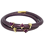 more details on Link Up 2 Row Purple Leather Cord Charm Bracelet.