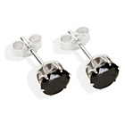 more details on Sterling Silver Black Cubic Ziconia Stud Earrings - 6MM