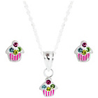 more details on Link Up Sterling Silver Cupcake Studs and Necklace Set.