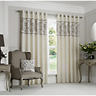 more details on Curtina Rialto Eyelet Top Border Curtains-168x229cm - Grey.