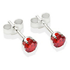 more details on Sterling Silver Red Cubic Ziconia Stud Earrings - 4MM