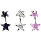 more details on Link Up Stainless Steel Crystal Star Drops Belly Bar - 3.