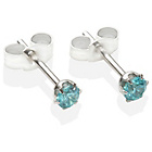 more details on Sterling Silver Dark Blue Cubic Ziconia Stud Earrings - 3MM