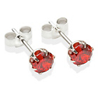 more details on Sterling Silver Red Cubic Ziconia Stud Earrings - 5MM