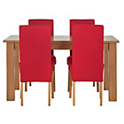 more details on Heart of House Hastings Ext Table & 4 Red Skirted Chairs.