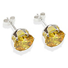 more details on Sterling Silver Citrine Cubic Ziconia Stud Earrings - 8MM