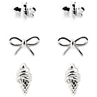 more details on Sterling Silver Palm Tree and Bow Cream Studs - Set of 3.