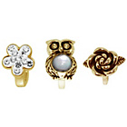 more details on Link Up Gold Plated Silver Crystal Owl Charms - Set of 3.