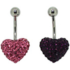 more details on Link Up S.Steel Rose and Purple Heart Belly Bar - Set of 2.