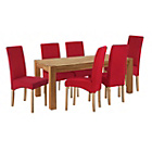 more details on Heart of House Aspley Table & 6 Red Skirted Chairs.