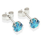 more details on Sterling Silver Dark Blue Cubic Ziconia Stud Earrings - 5MM