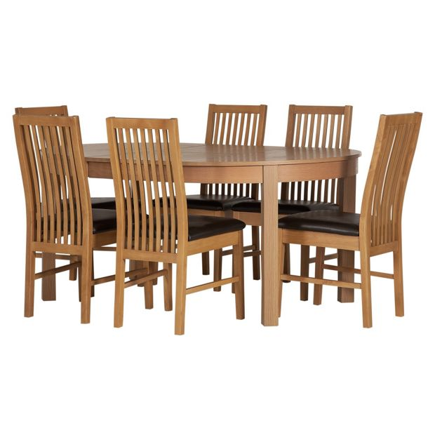 dayton dining table and 2 benches oak effect
