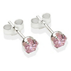 more details on Sterling Silver Pink Cubic Zirconia Stud Earrings - 4mm.