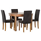 more details on HOME Woodbury Oval Ext Table and 4 Chairs -Oak Veneer/Black.