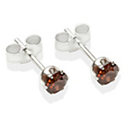 more details on Sterling Silver Brown Cubic Zirconia Stud Earrings - 4mm.