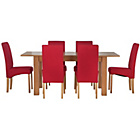 more details on Heart of House Hastings Ext Table & 6 Red Skirted Chairs.