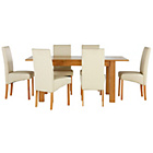 more details on Heart of House Hastings Ext Table & 6 Cream Skirted Chairs