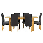 more details on Heart of House Hastings Ext Table & 6 Black Skirted Chairs.
