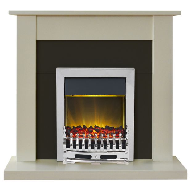 buy adam sutton electric fire suite cream and black at. Black Bedroom Furniture Sets. Home Design Ideas