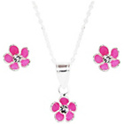 more details on Link Up Sterling Silver Pink Flower Studs and Necklace Set.