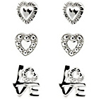 more details on Link Up Sterling Silver Heart and Love Studs - Set of 3.