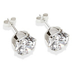 more details on Sterling Silver White Cubic Zirconia Stud Earrings - 8mm.