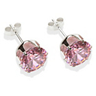 more details on Sterling Silver Pink Cubic Zirconia Stud Earrings - 8mm.