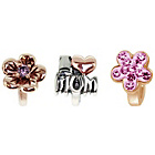 more details on Link Up Rose Gold Plated Silver Pink Crystal Mum Charms - 3.