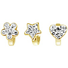 more details on Link Up Gold Plated Silver Heart, Flower and Star Charms - 3
