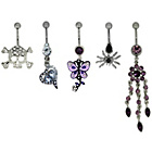 more details on Link Up Metal Skull, Heart and Butterfly Belly Bars - 5.